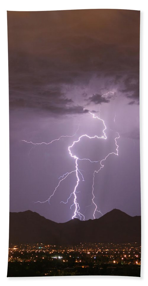 Lightning Hand Towel featuring the photograph Double Trouble Fine Art Lightning Photography by James BO Insogna