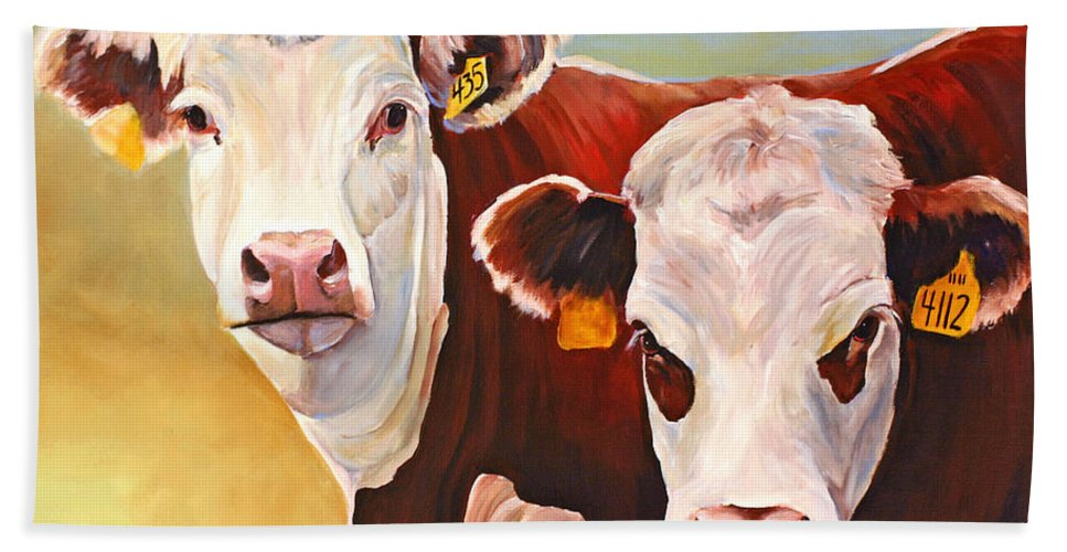 Hereford Bath Sheet featuring the painting Double Trouble Hereford Cows by Toni Grote