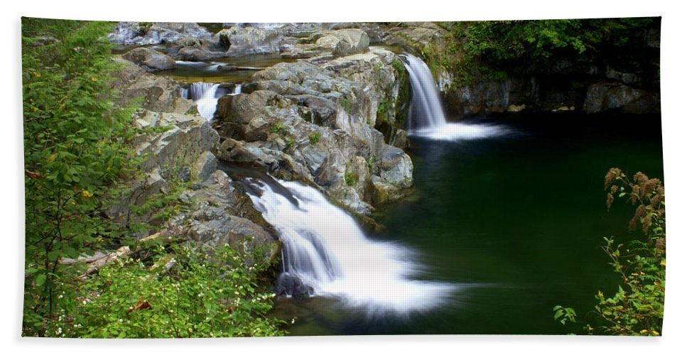 Waterfall Hand Towel featuring the greeting card Double Twin 2 by Marty Koch