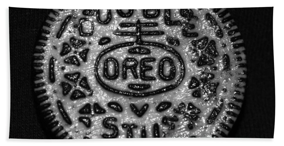 Oreo Hand Towel featuring the photograph Doulble Stuff Oreo In Black And White by Rob Hans