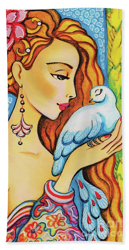 Dove Woman Hand Towel featuring the painting Dove Fairy by Eva Campbell