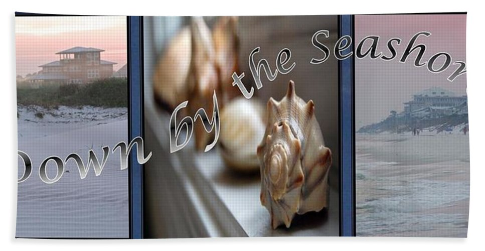 Shells Bath Towel featuring the digital art Down By The Seashore by Robert Meanor