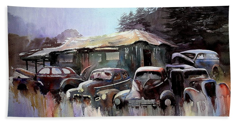 Cars House Bath Sheet featuring the painting Down In The Dell by Ron Morrison