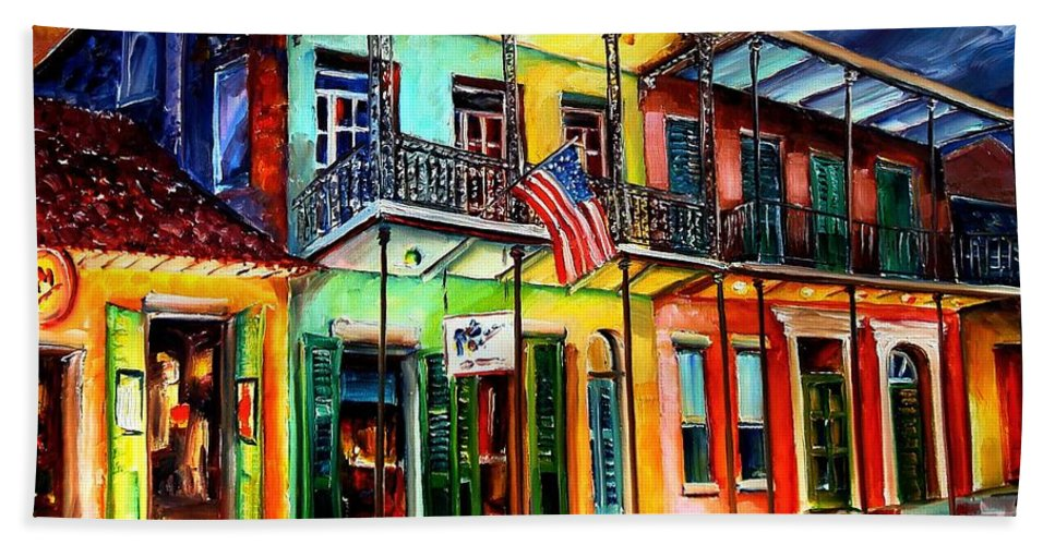 New Orleans Hand Towel featuring the painting Down On Bourbon Street by Diane Millsap
