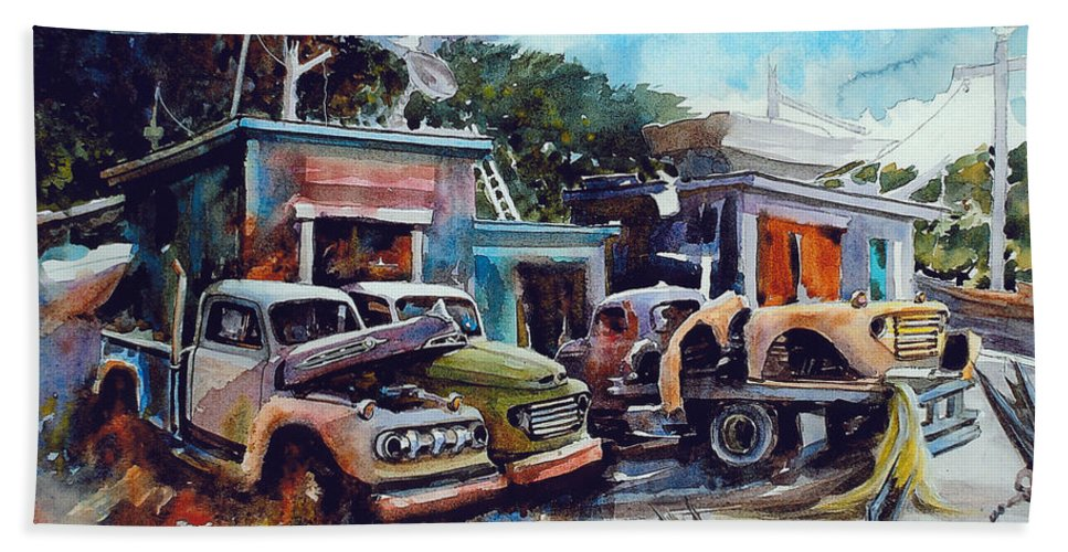 Trucks Bath Towel featuring the painting Down on the Lower Road by Ron Morrison