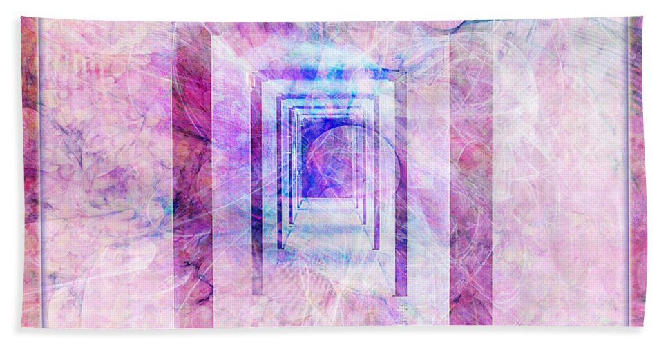 Pink Bath Sheet featuring the digital art Down The Hall by Barbara Berney