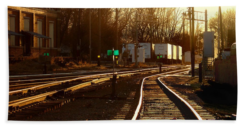 Landscape Bath Sheet featuring the photograph Down The Right Track 2 by Steve Karol