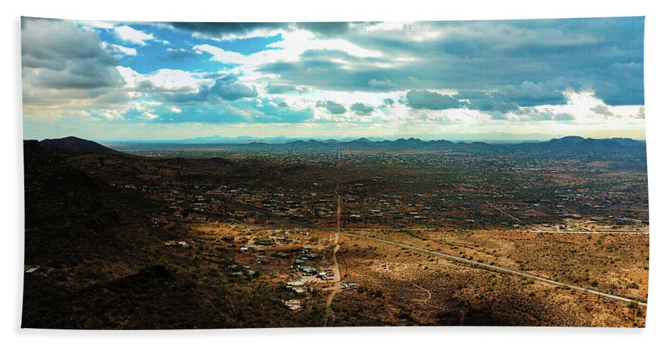 Drone Photography Hand Towel featuring the photograph Down The Road by David Stevens