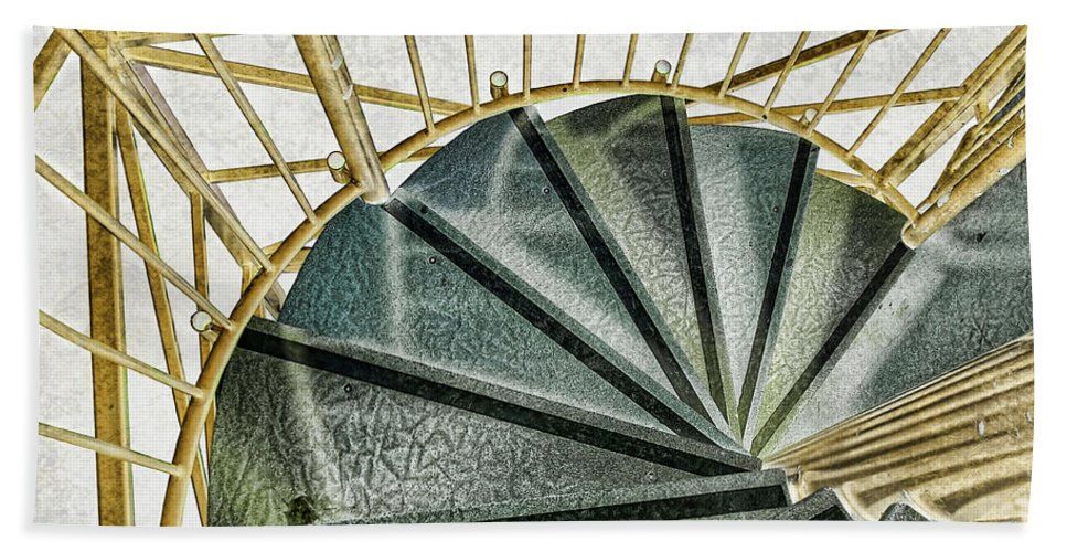 Stairs Hand Towel featuring the digital art Down The Upstairs by Randy Hobson