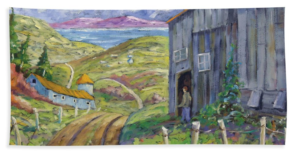 Art Bath Towel featuring the painting Down To The Fjord by Richard T Pranke