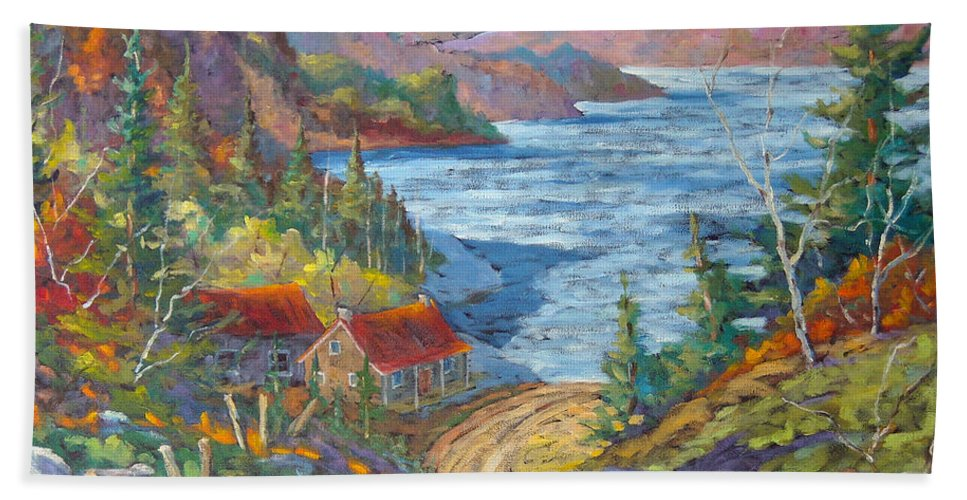 Landscape Bath Towel featuring the painting Down To The Lake by Richard T Pranke