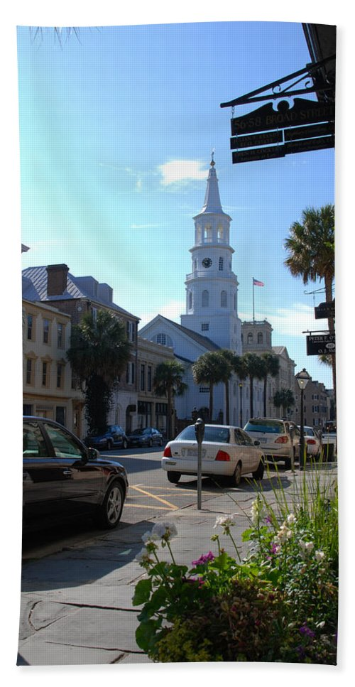 Photography Hand Towel featuring the photograph Down Town Charleston by Susanne Van Hulst