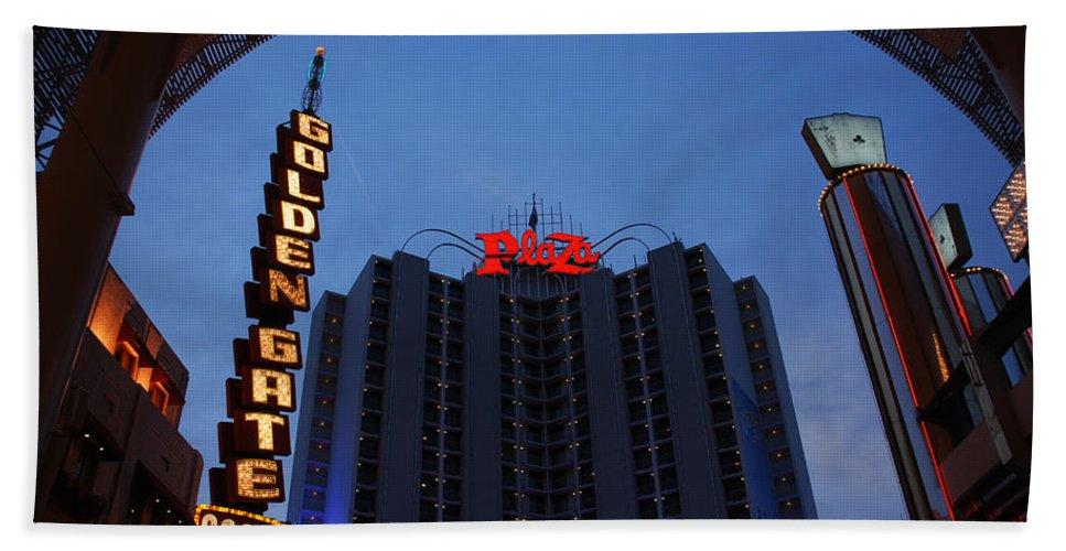 Las Vegas Bath Sheet featuring the photograph Down Town Las Vegas by Susanne Van Hulst