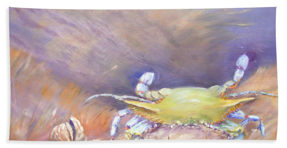 Blue Crab Bath Sheet featuring the painting Down Under by Loretta Luglio