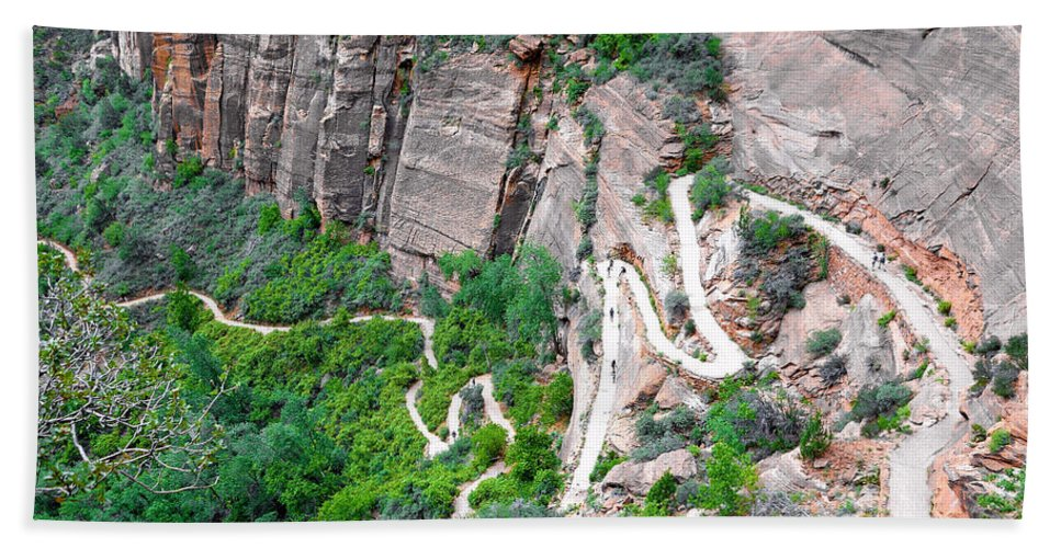 Downhill Bath Sheet featuring the photograph Downhill Switchbacks From Angels Landing by Robert Meyers-Lussier