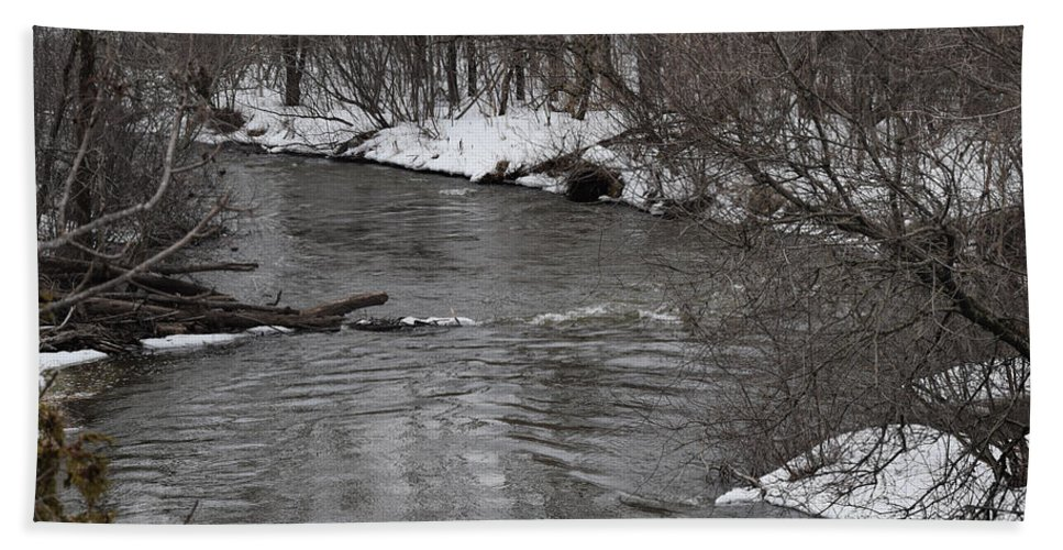 Caribou Stream Hand Towel featuring the photograph Downstream by William Tasker