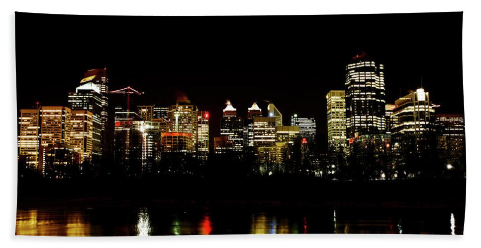 Downtown Calgary Night Lights Reflection Off Bow River Rural Alb Hand Towel featuring the digital art Downtown Calgary At Night by Mark Duffy