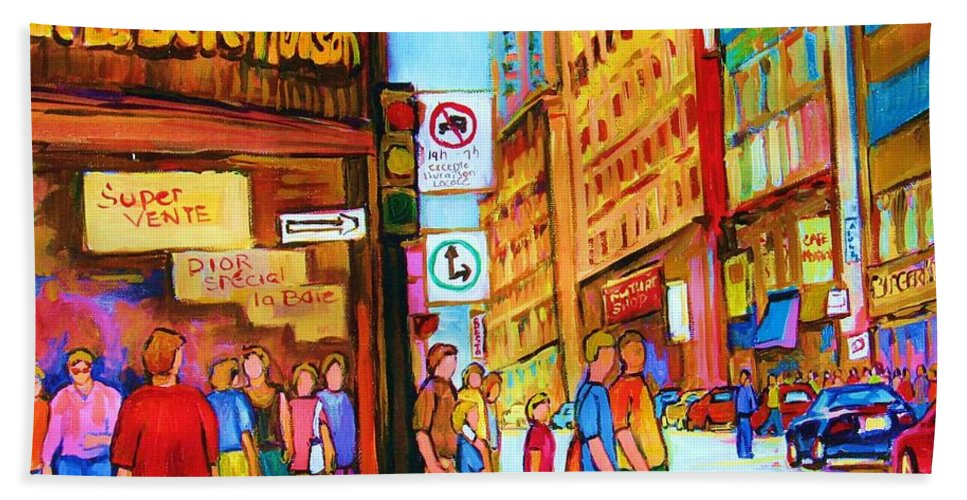 Cityscape Bath Sheet featuring the painting Downtown by Carole Spandau