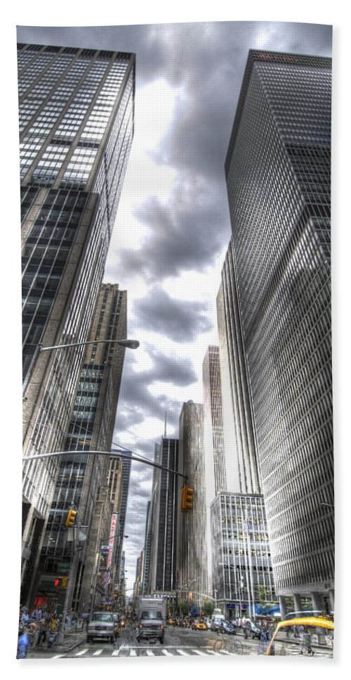 City Hand Towel featuring the photograph Downtown Hdr by Robert Ponzoni