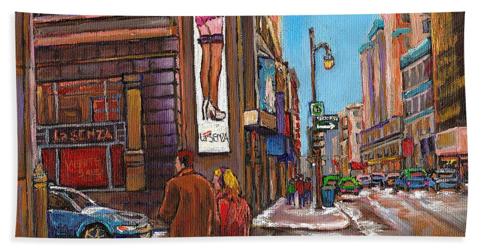 Montreal Bath Towel featuring the painting Downtown Montreal Streetscene At La Senza by Carole Spandau