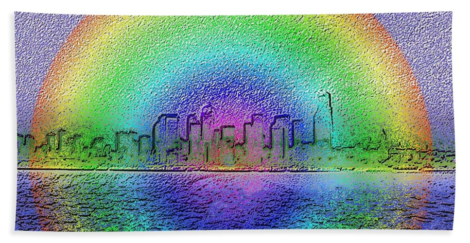 Seattle Hand Towel featuring the photograph Downtown Rainbow In The Wake by Tim Allen