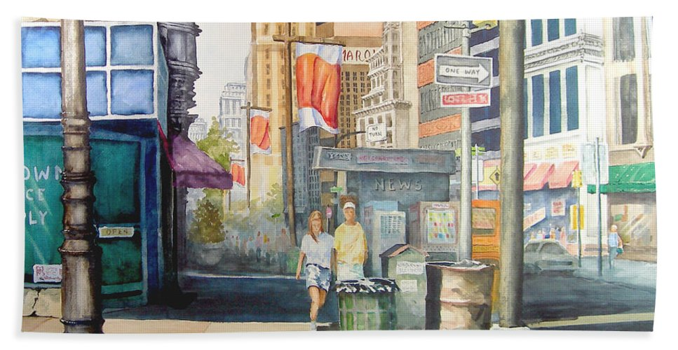 City Hand Towel featuring the painting Downtown by Sam Sidders