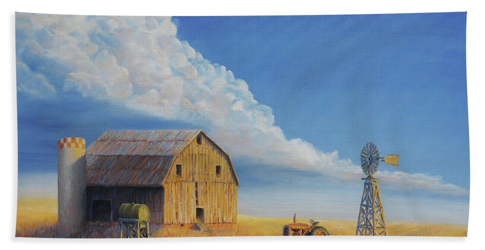 Barn Hand Towel featuring the painting Downtown Wyoming by Jerry McElroy
