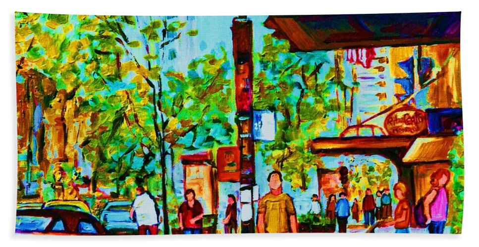 Montreal Streetscene Bath Towel featuring the painting Downtowns Popping by Carole Spandau