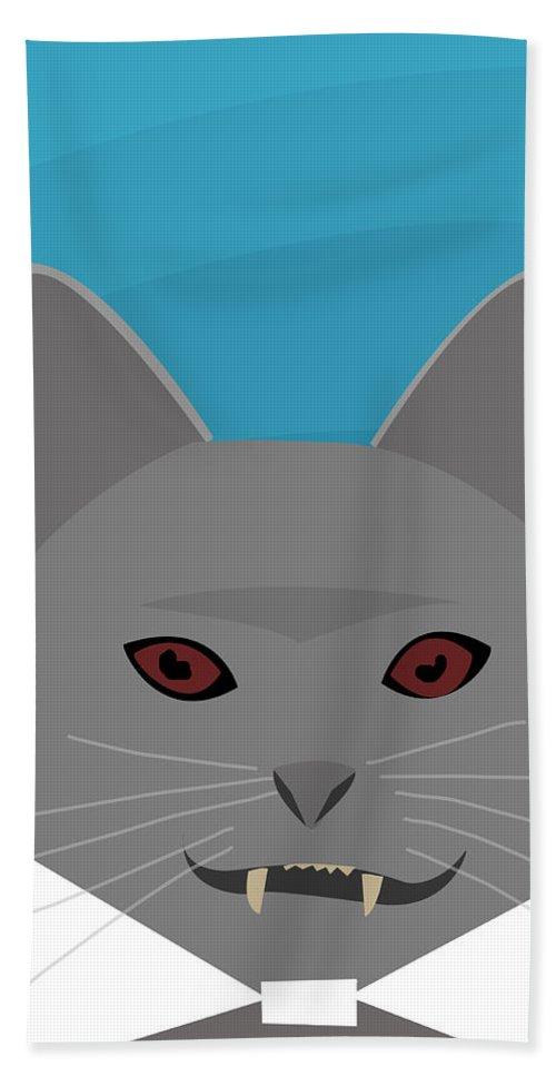 Dracula Hand Towel featuring the digital art Dracula Cat by Pati Photography