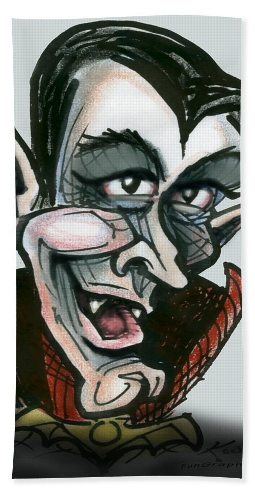 Dracula Hand Towel featuring the greeting card Dracula by Kevin Middleton