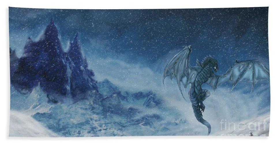 Dragon Born Hand Towel featuring the digital art Dragon Born. by Kyra Davis