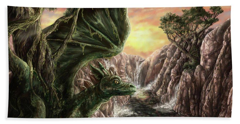 Dragon Bath Sheet featuring the digital art Dragon Branches by Lindsay Burroughs