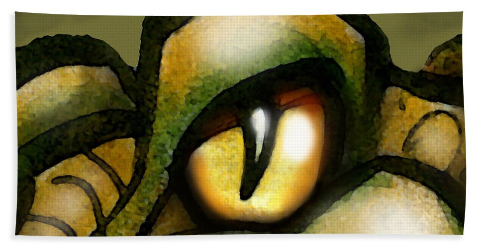 Dragon Bath Sheet featuring the painting Dragon Eye by Kevin Middleton