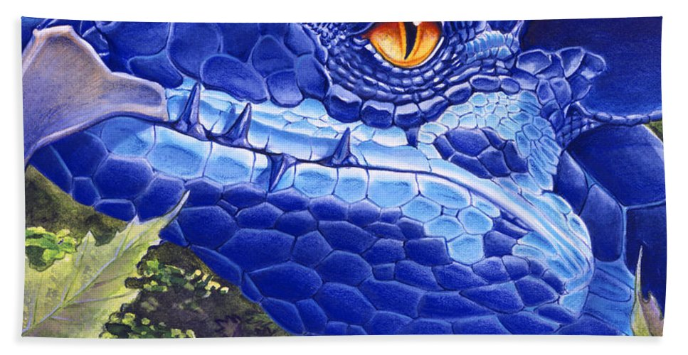 Dragon Hand Towel featuring the painting Dragon Eyes by Melissa A Benson