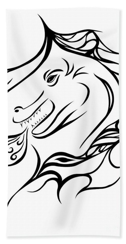 Bath Sheet featuring the digital art Dragon by Jamie Lynn