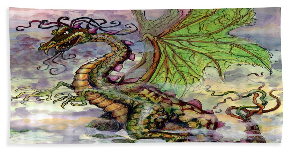 Dragon Bath Sheet featuring the painting Dragon by Kevin Middleton