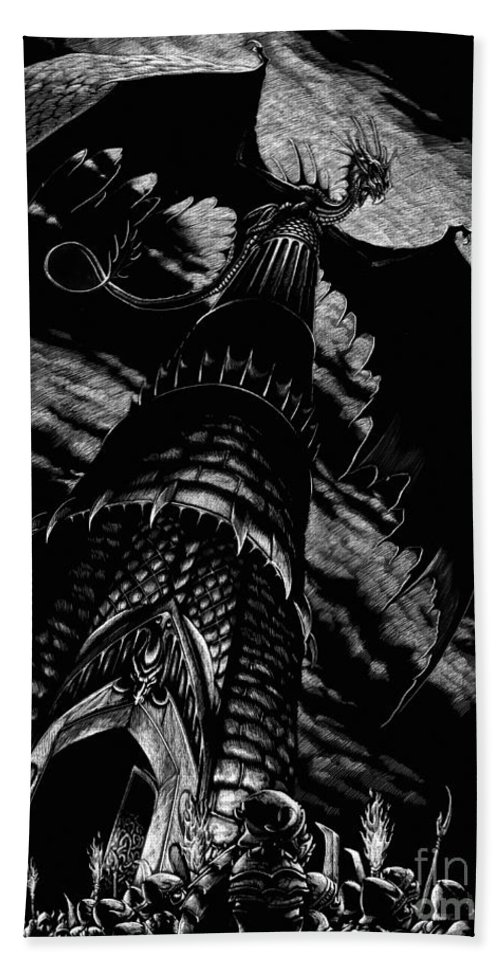 Dragon Hand Towel featuring the drawing Dragon Tower by Stanley Morrison