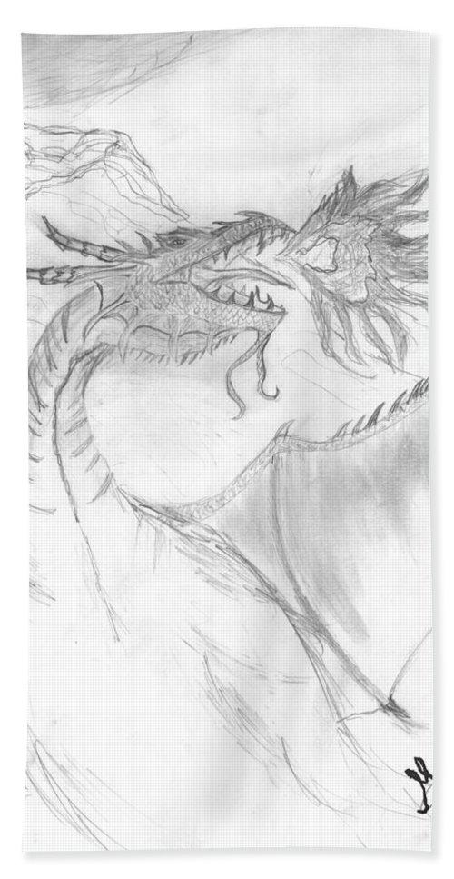 Hand Towel featuring the drawing Dragon V. by M Sebai