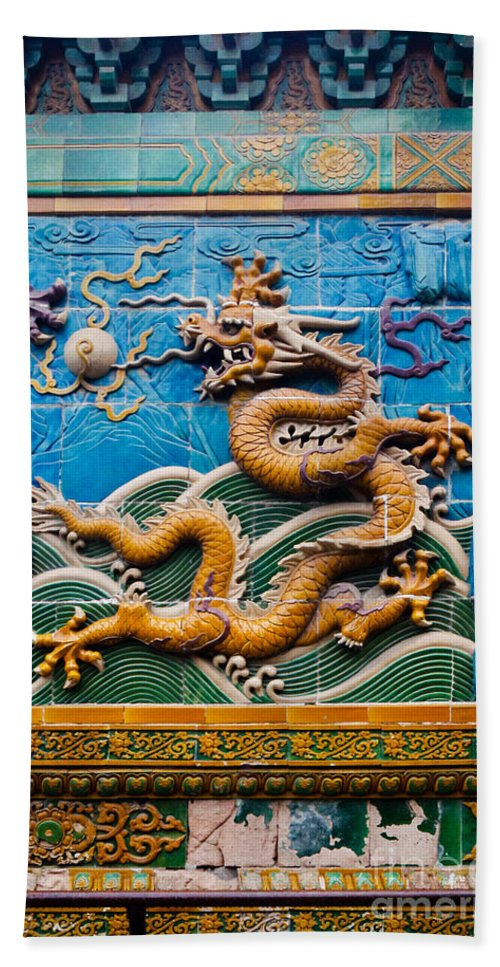 Dragon Hand Towel featuring the photograph Dragon Wall by Henrik Lehnerer
