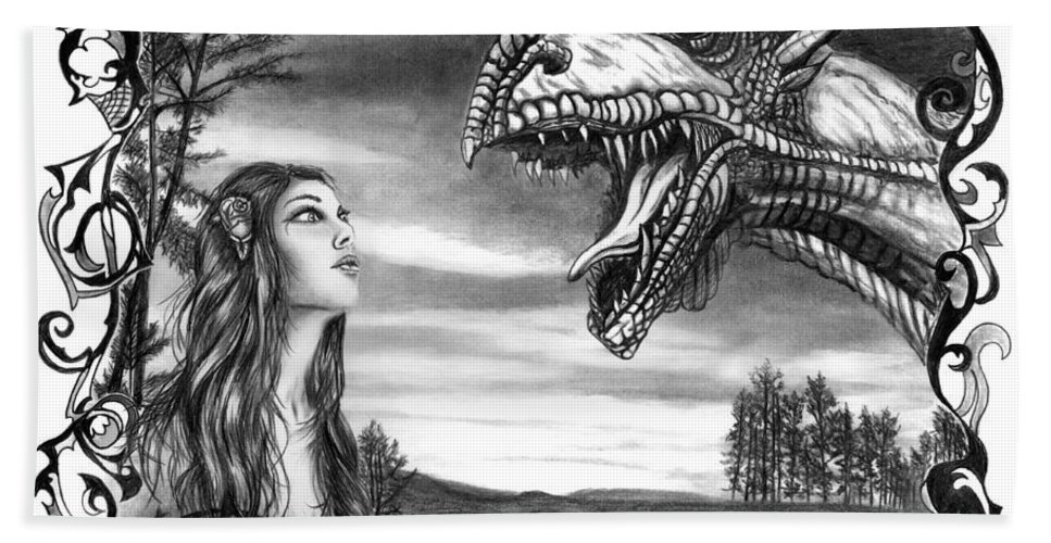 Dragon Whisperer Bath Towel featuring the drawing Dragon Whisperer by Peter Piatt