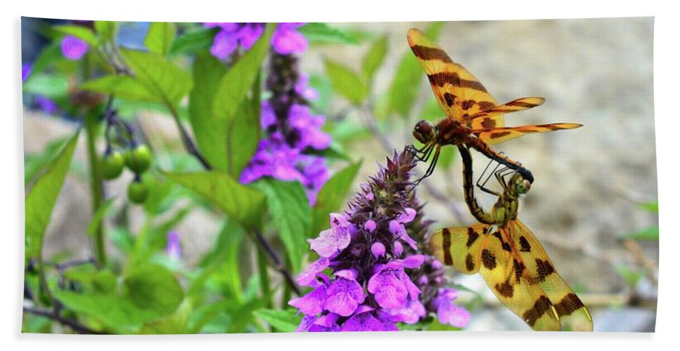 Abstract Hand Towel featuring the photograph Dragonflies In Summer by Lyle Crump