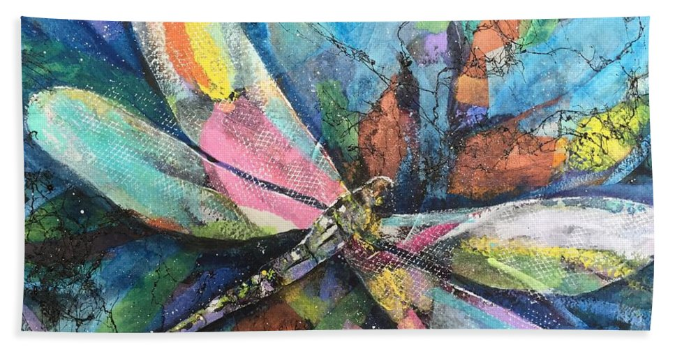Multicolor Hand Towel featuring the painting Dragonfly Voyager by Midge Pippel