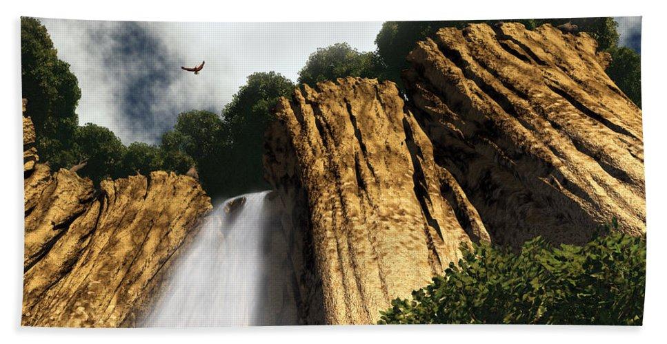 Canyon Bath Sheet featuring the digital art Dragons Den Canyon by Richard Rizzo