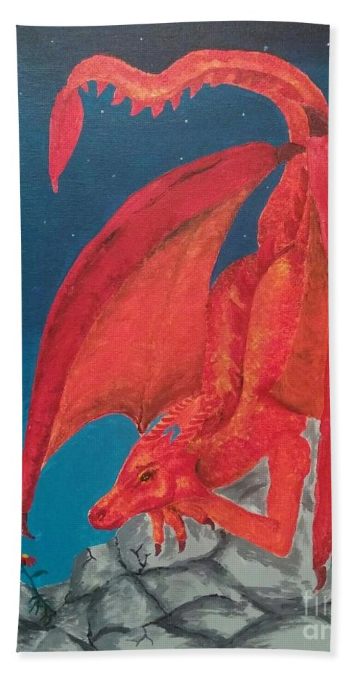 Dragon Hand Towel featuring the painting Dragons Love by Heather James