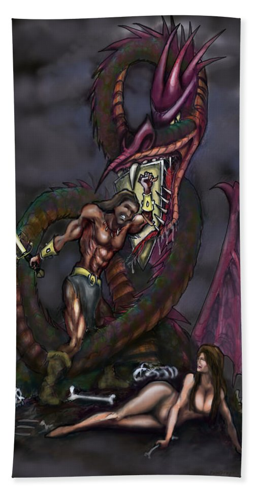 Dragon Hand Towel featuring the painting Dragonslayer by Kevin Middleton