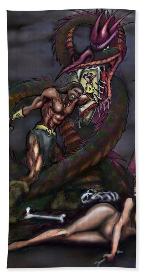 Dragon Bath Sheet featuring the painting Dragonslayer N Damsel by Kevin Middleton