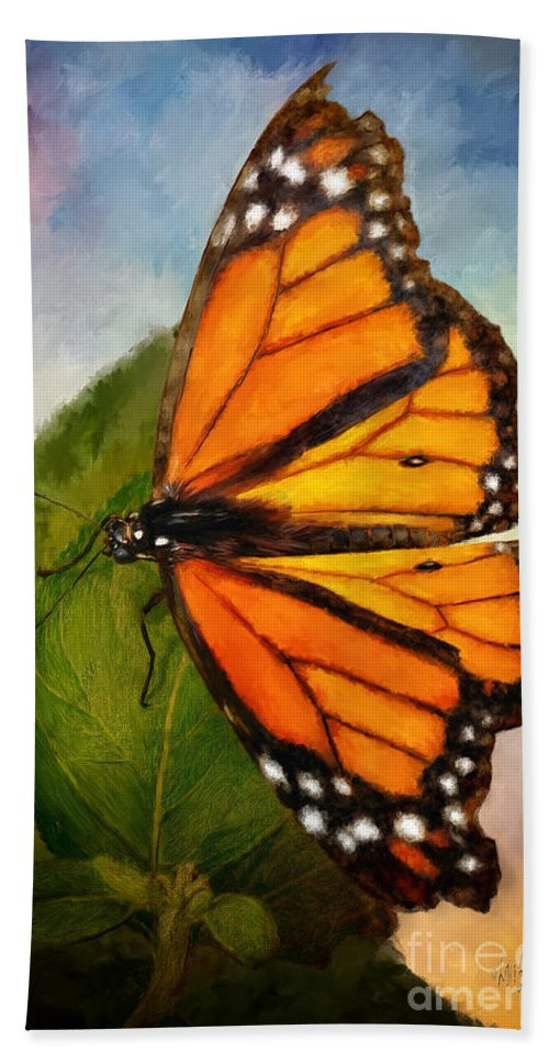 Butterfly Hand Towel featuring the digital art Drama Queen by Lois Bryan