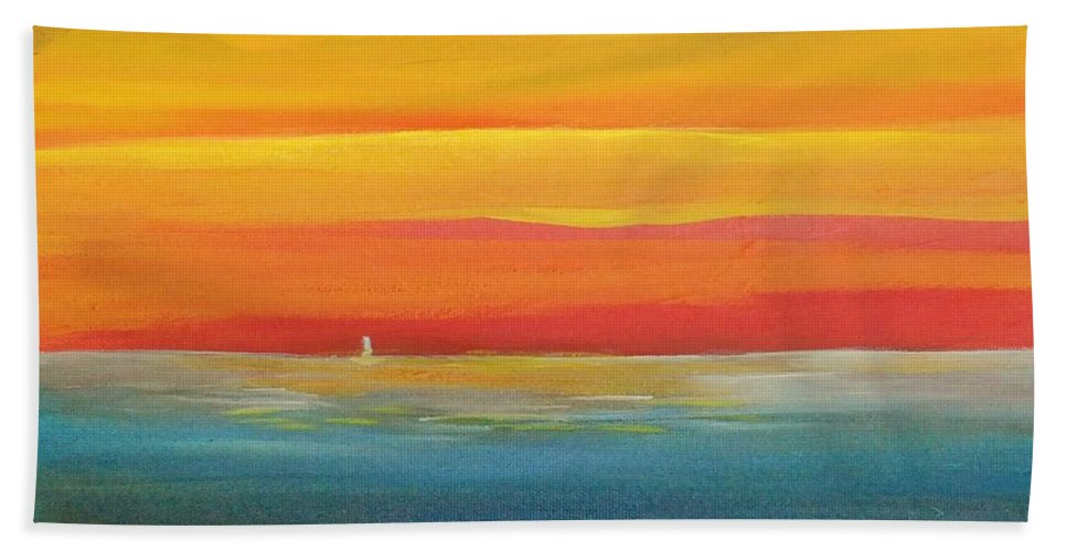 Alicia Maury Prints Bath Sheet featuring the painting Dramatic Sky Beach by Alicia Maury