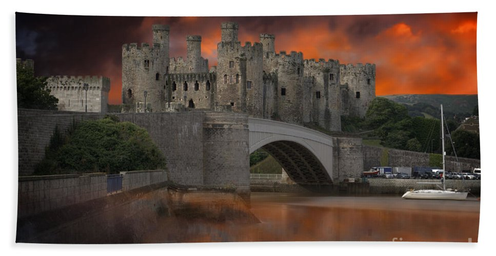 Architecture Bath Sheet featuring the photograph Dramatic Sky Over Castell Conwy by MSVRVisual Rawshutterbug