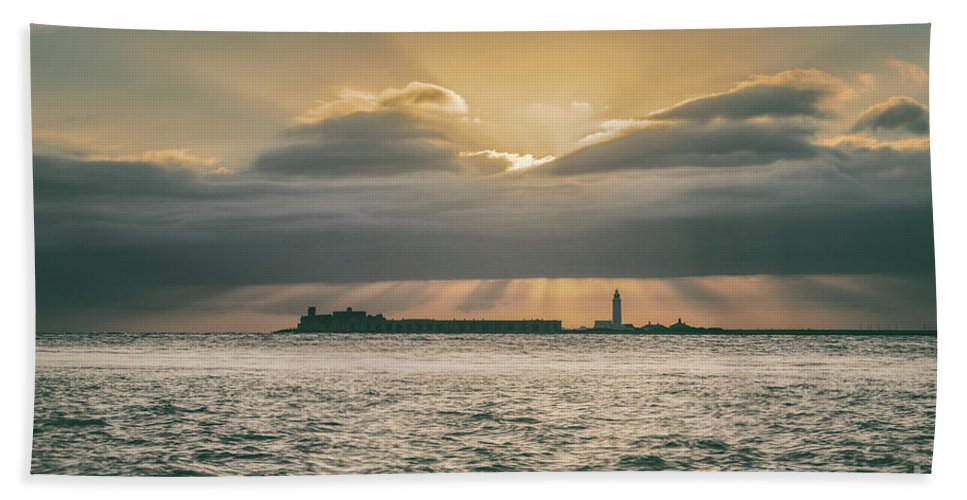 Fort Hand Towel featuring the photograph Dramatic Sky Over Hurst Castle by Clayton Bastiani